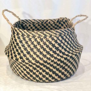 Natural Seagrass Woven Basket With Black Weave