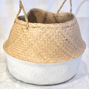 Natural Seagrass Woven Basket With White Block